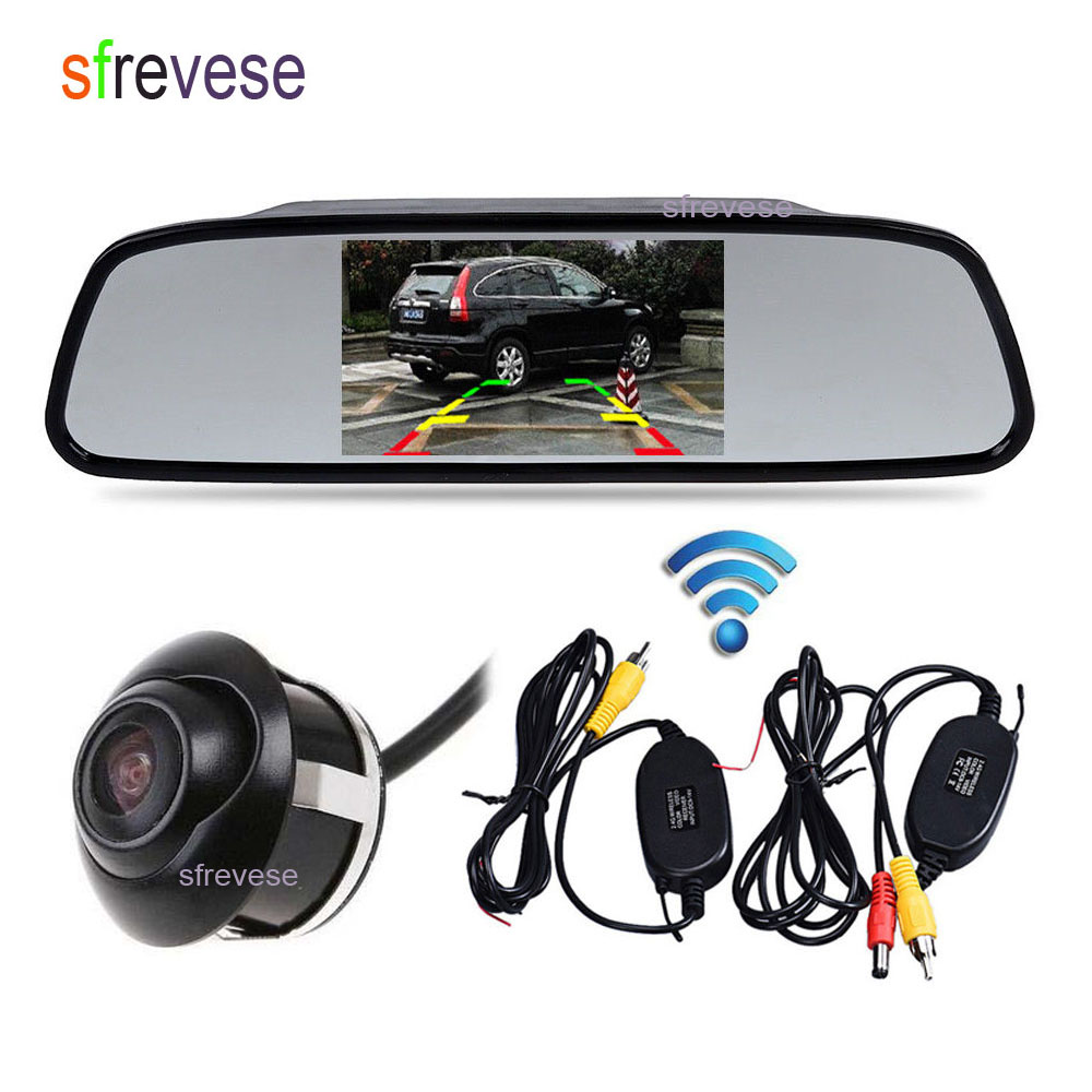 4 3 LCD Mirror Monitor Car Rear View Kit Wireless Night Vision Reversing Parking Backup Camera
