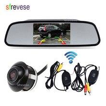 """4.3 """"LCD A Specchio Monitor Car Rear View Kit + Senza Fili di Visione notturna Che Inverte Parcheggio di Sostegno Della Macchina Fotografica 360 Gradi di Rotazione impermeabile"""