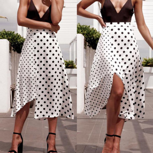 Summer Skirts 2019 New Women Summer Casual High Waist Irregular Split Polka Dot Midi Skirts Size S XL in Skirts from Women 39 s Clothing