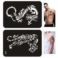 Grande Henna Tattoo Stencil 2 Designs Dragon Tiger Airbrush Stencil Glitter Tattoo Stencil Mehendi Del Corpo Body Art