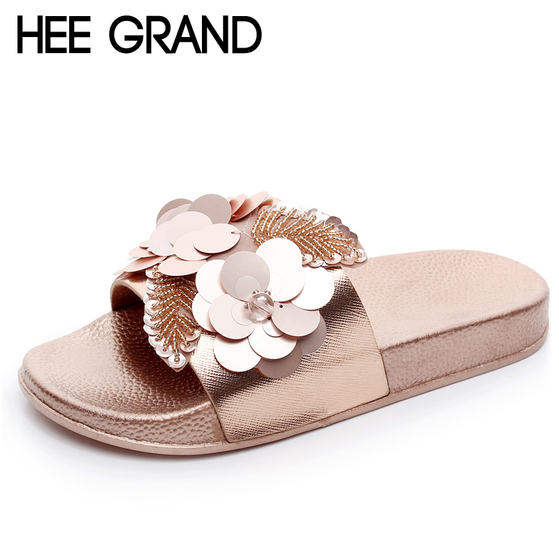 HEE GRAND Gold Sliver Flats Slides Bling Summer Beach Slippers Platform Casual Shoes Woman Slip On Creepers 3 Colors XWT1077 hee grand summer gladiator sandals 2017 new platform flip flops flowers flats casual slip on shoes flat woman size 35 41 xwz3651