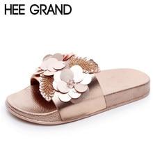 b159ecff Hee Grand oro pisos Toboganes Bling verano playa Zapatillas plataforma  Zapatos mujer slip en creepers 3