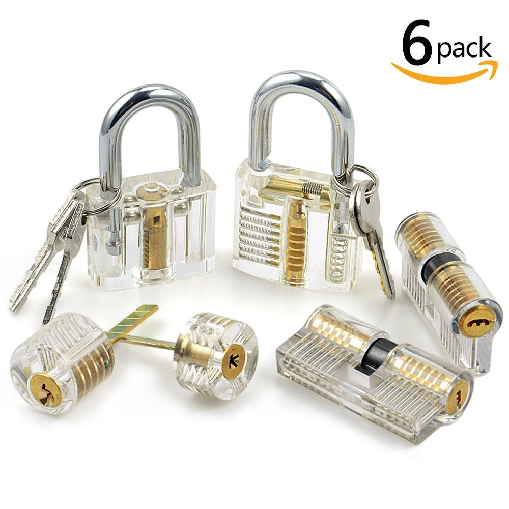 6pcs Transparent Practice Lock Set Visible Cutaway Pin Tumbler Keyed Padlock locksmith practice locks for Locksmith Beginner master lock m5xd magnum keyed padlock