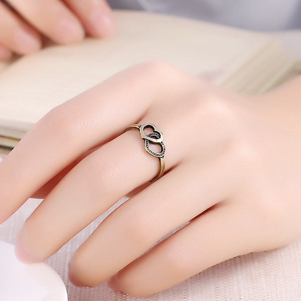 2017 Kinel NEW Arrival Vintage Double Love Heart Rings For Woman ...