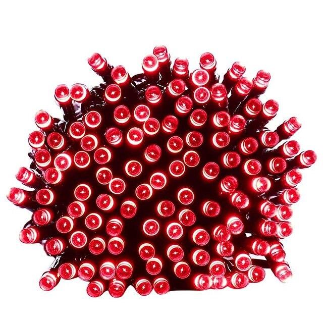 lederTEK Guirnalda de Luces 200 LED Solar de Color Multi 8 Modos para Decorar Patio, Jardin, Terraza, Fiesta, Navidad, Boda [Clase de eficiencia energetica A++](Rojo)
