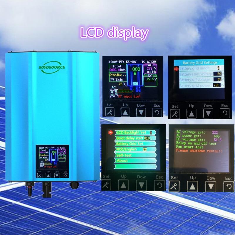 1200W Grid Tie Photovoltaic inverter PV-Voc input 55-90v solar inverter AC110V 230V Home solar systems or 48V battery waterproof multilevel inverter topologies for stand alone pv systems