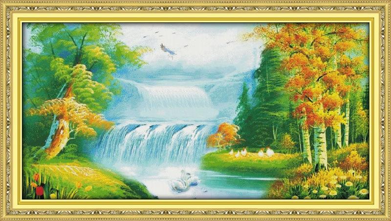 Fairyland en dreamcompté imprimé sur tissu DMC 14CT 11CT point de croix kitsbroderie couture SetsCrafts décor à la maison