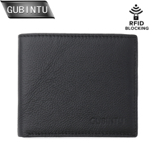 GUBINTU Men Genuine Leather Wallet RFID Blocking Wallet Flipout ID Design Card Holder Men Wallet Slim Coin Pocket Purse carteira