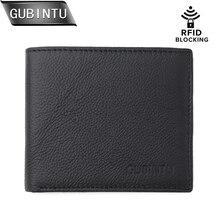 GUBINTU Men Genuine Leather Wallet RFID Blocking Flipout ID Design Card Holder Slim Coin Pocket Purse carteira