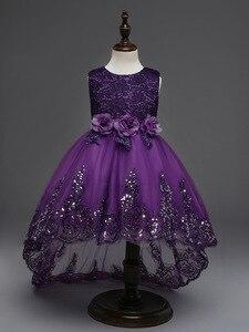 Фиолетовое платье принцессы для девочек, детские вечерние платья для свадебных торжеств, модная одежда с цветочным принтом для больших пти...