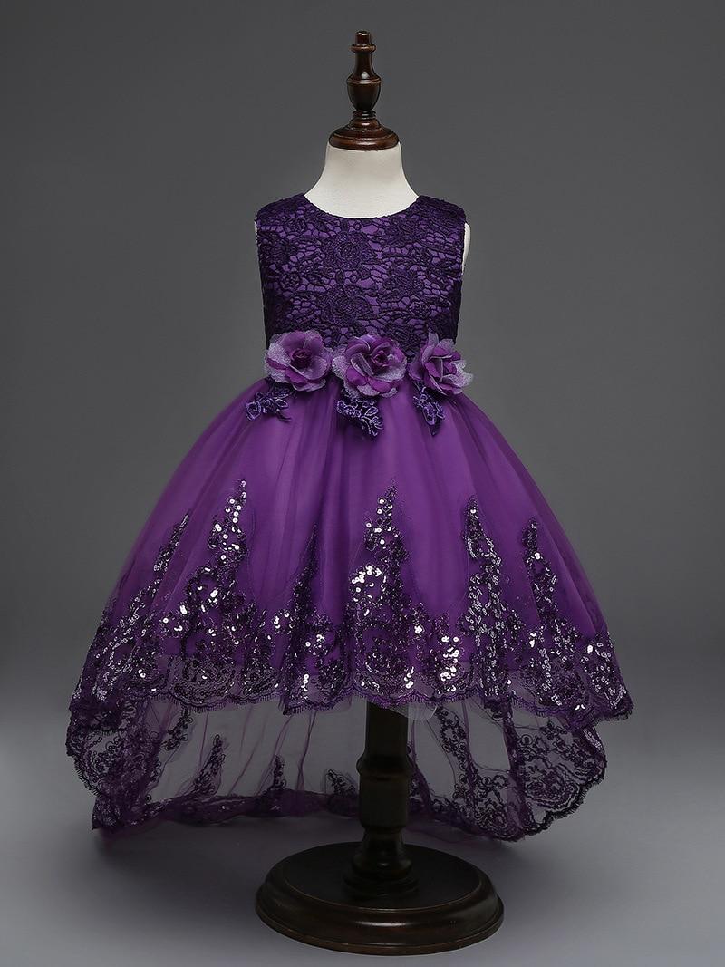 Purple Princess Girls Dress Baby Cloth Children Party Wedding Tutu Flower Pink 0 2th Dresses Fashion For Big Birls 4 12t