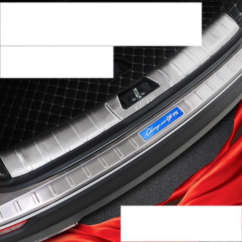 Lsrtw2017 en acier inoxydable voiture coffre garnitures décoration pour changan cs75 2014 2015 2016 2017 2018 2019