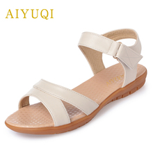 AIYUQI 2019 new genuine leather women sandals fashion flat summer women's sandals plus size 41#42#43# mother sandals female цена