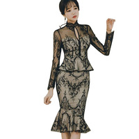 Asian Japanese Women Fake Two Piece Designer Dress 2018 Long Sleeve Sexy See Through Lace Keyhole Peplum Bodycon Mermaid Dress