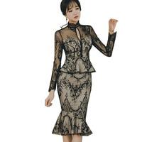Asian Japanese Women Fake Two Piece Designer Dress 2018 Long Sleeve Sexy See Through Lace Keyhole Peplum Bodycon Mermaid Dress