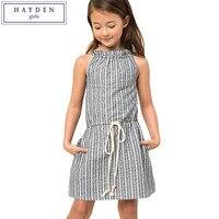 HAYDEN Girls Striped Dress Backless Summer Children Dresses Linen Cotton Clothing For Teenagers Girl Fashion Brand