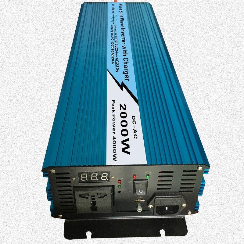 Continue 2000 w UPS Onde sinusoïdale Pure Onduleur Entrée 12 v/24 v Sortie 220 v/110 v DC à AC Solaire Système Inverter avec 20A/10A Chargeur