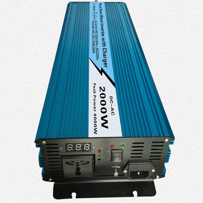 Continuo 2000 w UPS Puro Inverter A Onda Sinusoidale di Ingresso 12 v/24 v Uscita 220 v/110 v DC a AC Inverter Sistema Solare con 20A/10A Caricatore