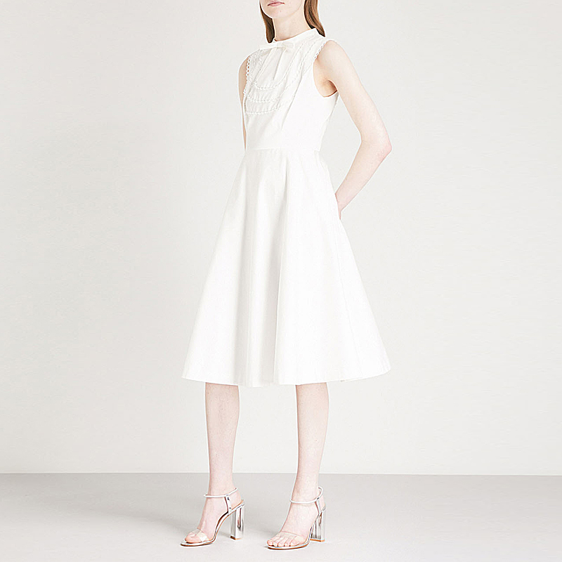 XF 2018 Fashion Designer Summer Retro Women'S Party Round Neck Sleeveless Bow Knot Palace Stitching  Dress Slim White Dress
