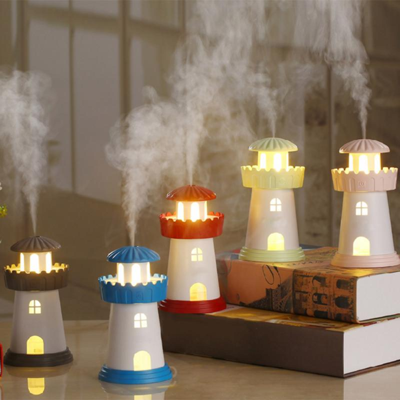 Lighthouse Led Ultrasonic Humidifier Mist Maker Fogger USB Humidifiers 150ml Air Freshener Aroma Diffuser Lamp Home Appliances 5pcs lot 8 130mm replacement cotton swab for air ultrasonic humidifiers mist maker humidifier part replace filters can be cut