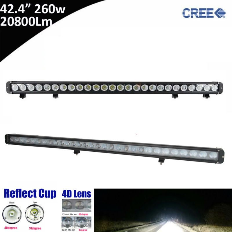1pcs 260W 42inch 42 ED Light Bar Combo Beam for Ford Focus,UTV,ATV,Truck,Automobiles 6000K Straight Single Row LED Light Bar