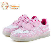 2016 Baby Shoes New Spring Luminous Colorful LED Light Flag Stars Print Baby Girls Baby Baby Boys Sneakers Chaussure Enfant
