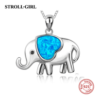 Original 925 Sterling Silver Cute Animal Elephant Charms Pendant Necklace With Opal Love Heart Chain Fit