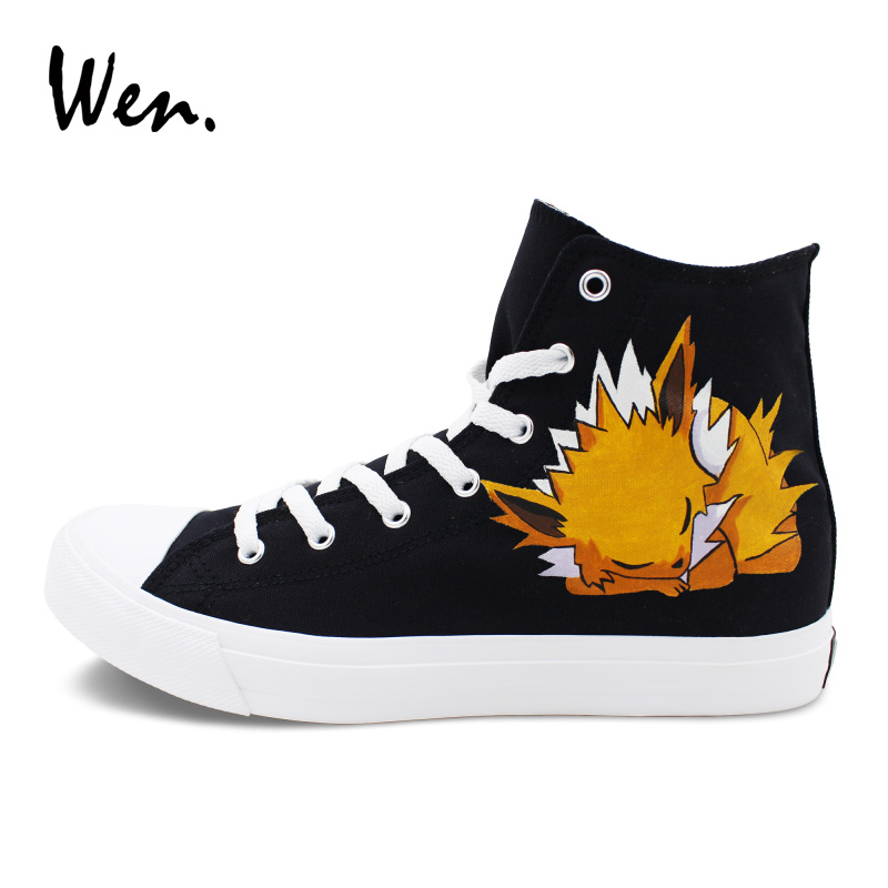 Wen Men Women Gym Sneakers Black Canvas Hand Painted Pokemon Shoes Anime Jolteon Graffiti Painting High Tops boys girls converse all star hand painted shoes women men shoes pokemon go charizard design high top canvas sneakers
