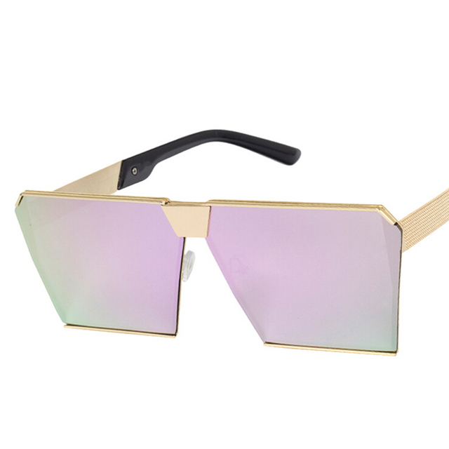 Fashion luxury square sunglasses women brand designer celebrity metal UNISEX oversized sunglasses mirror lens UV400 COOL