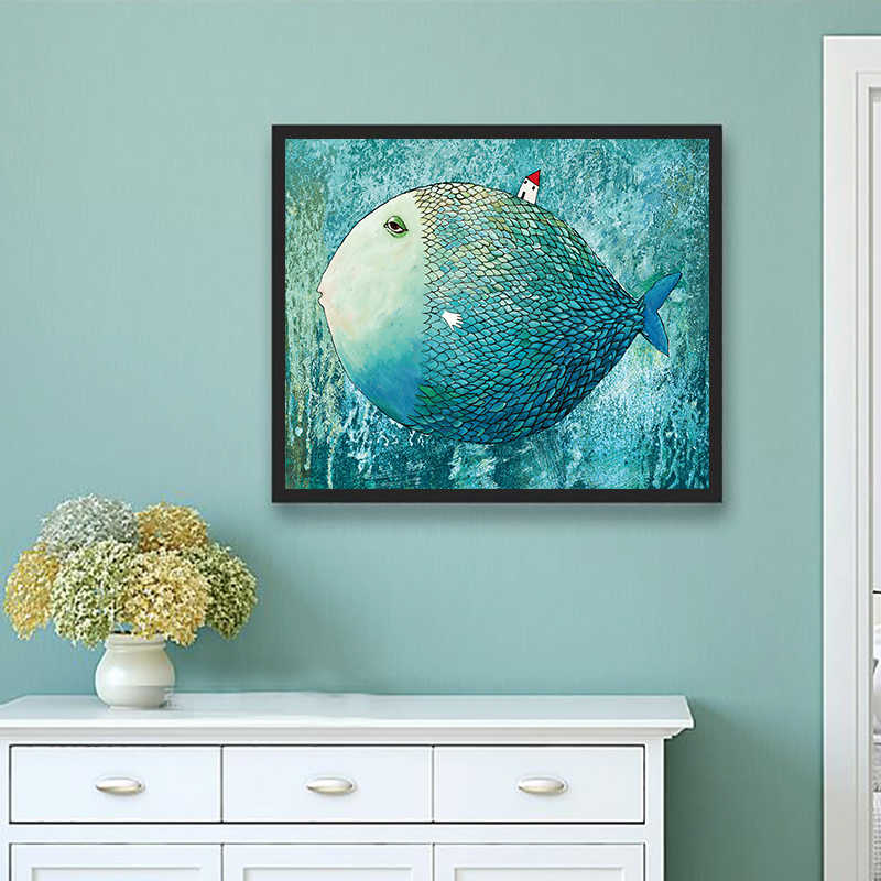 Nordic Minimalist Fish Modern Canvas Art Painting Wall Picture Children Room Decoration Painting Kids Baby Bedroom Poster Decor