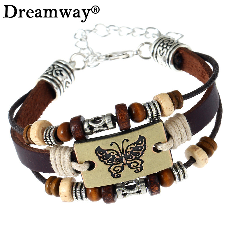 Butterfly Bracelets Hot Sales Hand Made Braided Fashion Style Popular Charm Leather Bracelets Bangles for Men Women pulseira