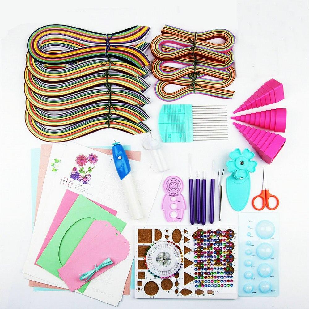 Papier Quilling papier dessin ensemble papier artisanat couleur matériel paquet débutants outil d'apprentissage avec stylo de papier rouleau électrique de luxe
