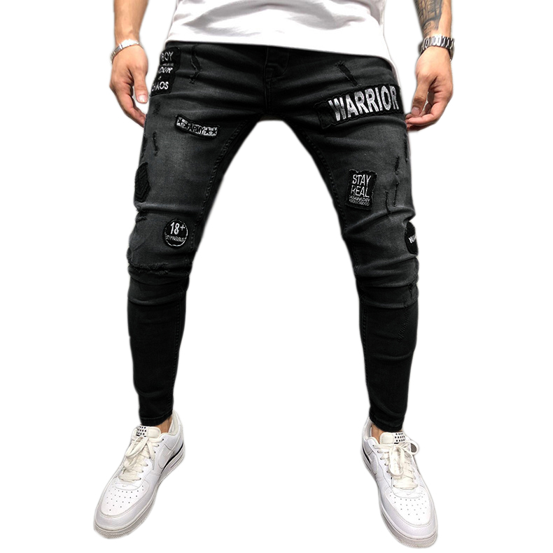 New Fashion Streetwear Men'S Jeans Knee Hole Ripped Embroidery Jeans Trousers Hip-Hop Slim Men Jeans Pants