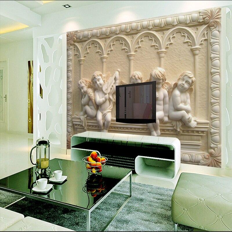 Европейский Стиль 3D стены Бумага стереоскопический телевизор Задний план стены Бумага Гостиная Спальня настенной Бумага тиснением Ангел