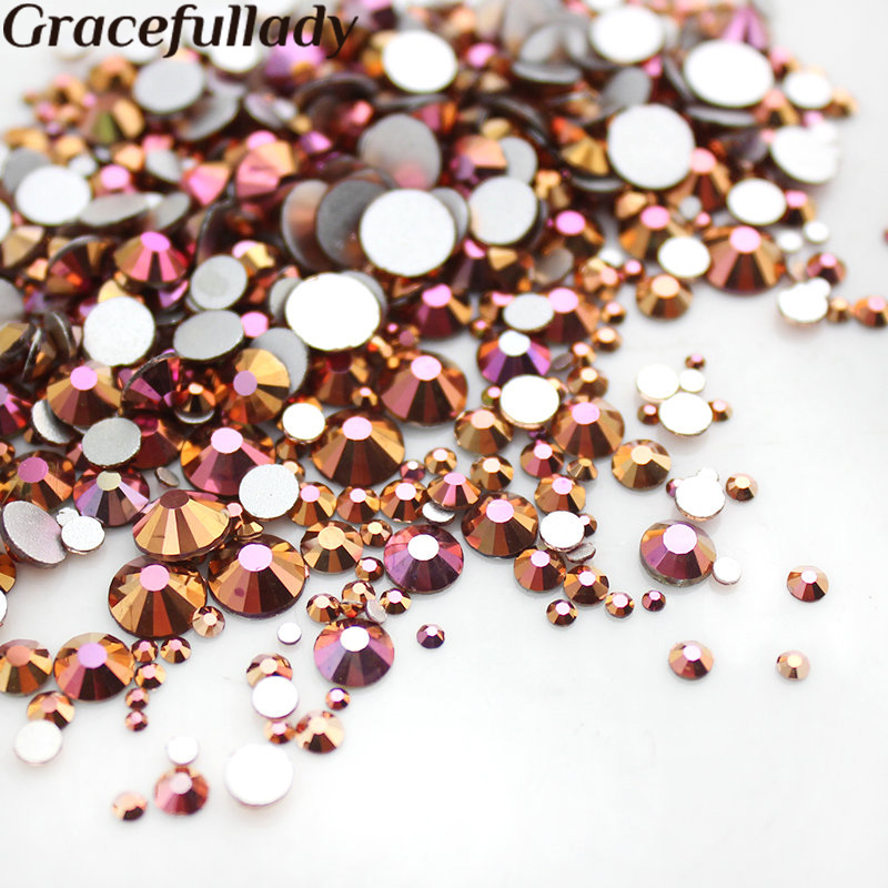 цена Mixed Size SS3-SS30 Gold Rose 1000pcs Nail Rhinestones Flat Back Non Hotfix Glitter Nail Stones,DIY 3d Nail Phones Decorations