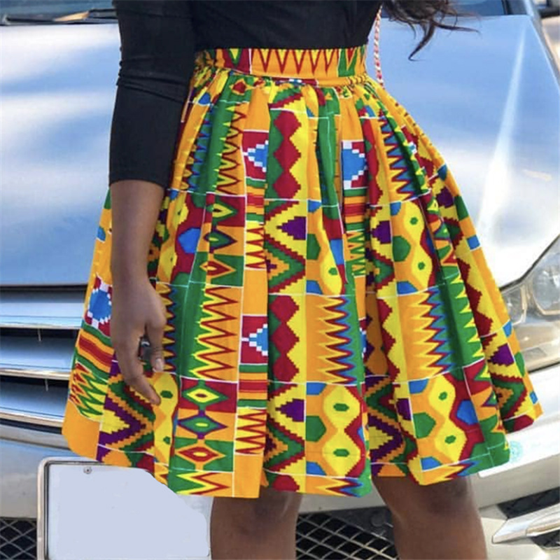 2019 New Arrival Summer Sexy Fashion African Women Printing Polyester Plus Size Skirts S-XXL
