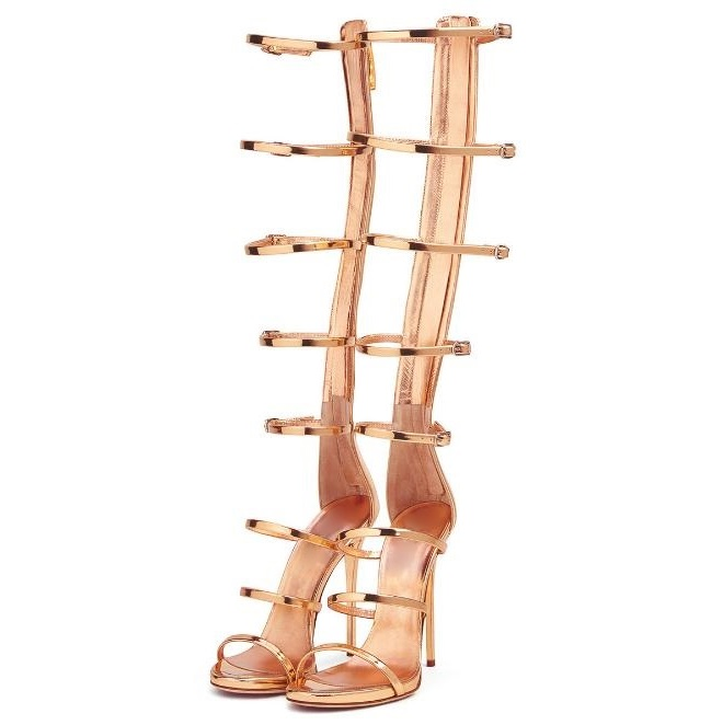 New Arrivals Buckle Straps High Heel Sandales Women Open Toe Thin Heels Sandals Summer Fashion Golden Party Shoes Free Shipping free shipping women summer newest open toe straps cross high heel sandals orange suede leather thin heel dress shoes