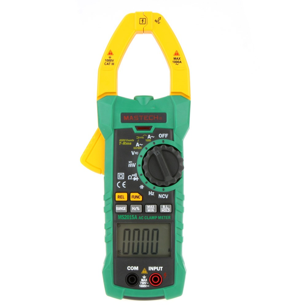 MASTECH MS2015A AutoRange Digital AC 1000A Current Clamp Meter Capacitance Frequency & NCV Tester w/ True RMS my68 handheld auto range digital multimeter dmm w capacitance frequency