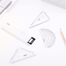 4-Piece Protractor Multi-Function Measuring Ruler Square Triangle Aanswer Card Set Student Drawing Tool