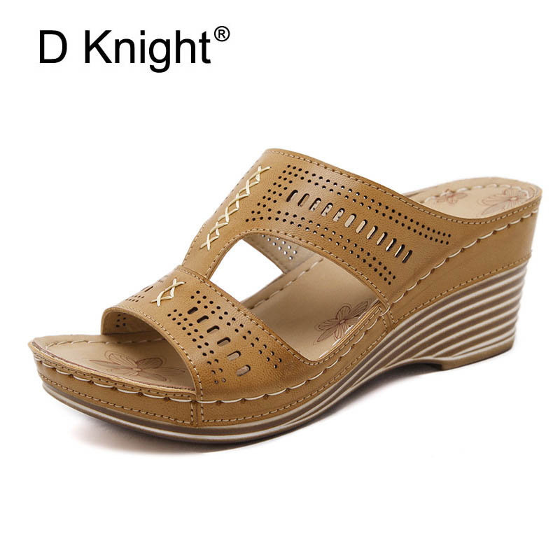 Solid Platform Slides 2018 Slip On Wedges Beach Summer Casual Shoes Woman Fashion Creepers Slippers Black Beige Plus Size 36-41 black women wedge slippers 12cm high heel platform pumps genuine leather shoes woman gladiator sandals slides wedges creepers
