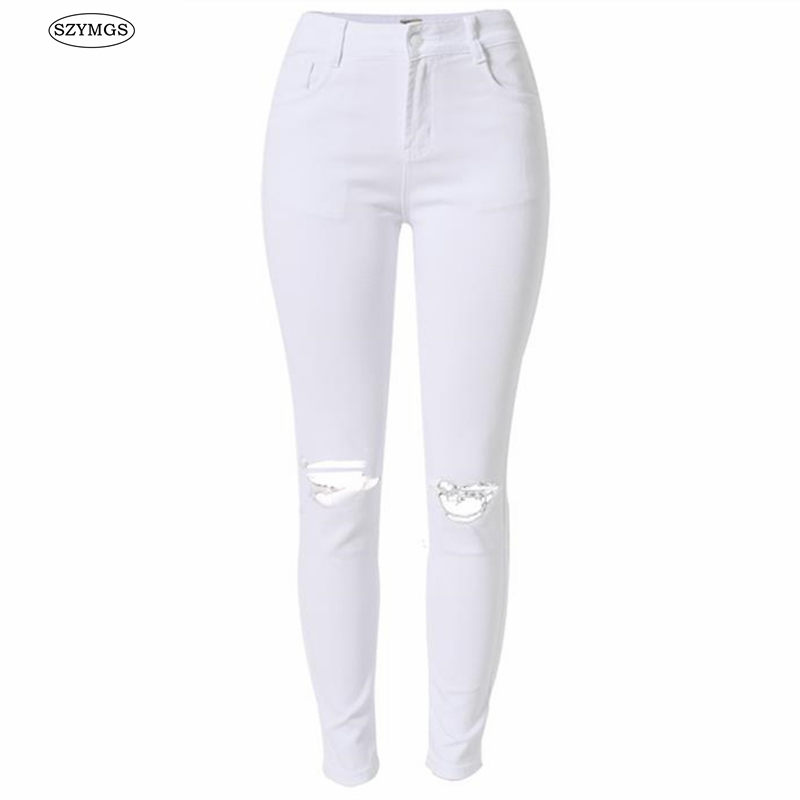 SZYMGS Elastic white Hole jeans woman high waist skinny ripped jeans for women vaqueros mujer jean denim pants pantalon jean fem 2017 new fashion pencil pants hole jeans woman skinny ripped jeans for women vaqueros mujer boyfriend jean denim pants pantalon