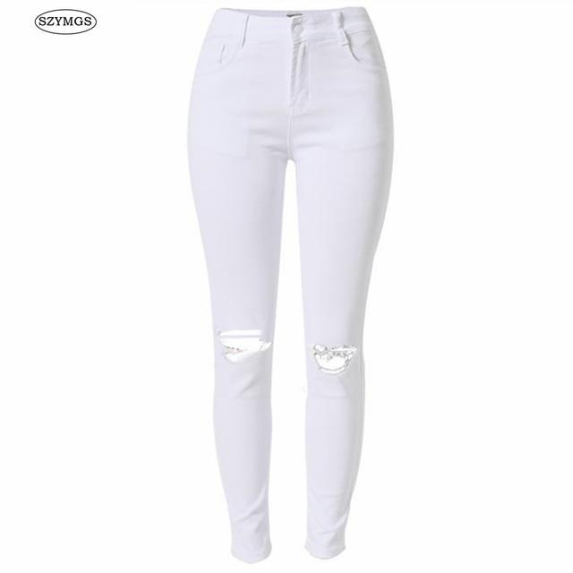 07a841cf2c917 SZYMGS elástico blanco agujero jeans mujer alta cintura skinny ripped jeans  para mujer vaqueros mujer jean