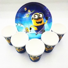 20pcs Minions Party Supplies Paper Plate Cup Baby Shower Disposable Tableware Event Decoration Fvors