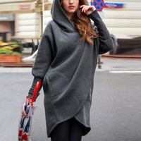 Japan Style Solid Fashion Long Sleeve Hooded Long Shirts Tops Outerwear Autumn Women Ladies Clothing Top