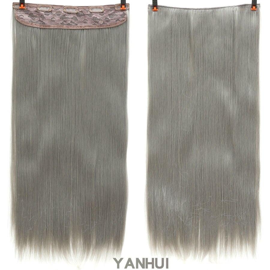 SHANGKE волосы 24 ''длинные прямые женские волосы на заколках для наращивания черный коричневый высокая температура Синтетические волосы кусок - Цвет: YANHUI