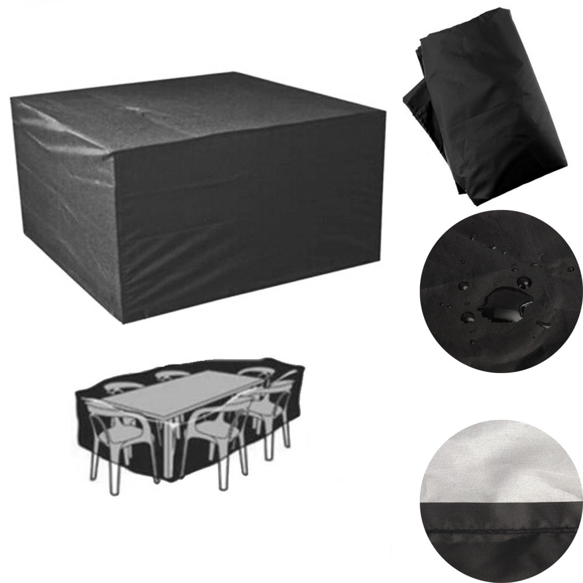 Black Outdoor Patio Polyester Furniture Cover Waterproof 6 Seater Table Chair Table Cloth Dustproof Garden Furniture