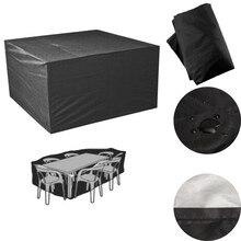 Schwarz Terrasse Polyester Möbel Abdeckung Wasserdicht 6 Sitzer Tisch Stuhl Tisch Tuch Staubdicht Gartenmöbel Abdeckung
