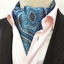 ec8216548f5d Blue Cashew Nuts Gentleman Cravat Men's Ascot Vintage Paisley Dots Jacquard  Silk Tie Cravat Necktie Scrunch