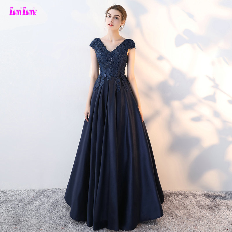 Elegant Dark Navy Long Formal Dresses 2019 New Sexy Evening Party Gowns V-Neck Satin Appliques Lace-Up Custom Made Evening Dress
