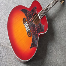 "Custom Shop F Johnny Cash 43 ""Table en épicéa massif SJ200 VS CS Tiger flammé érable Côtés et dos Cherry Burst J200 Guitare Acoustique"